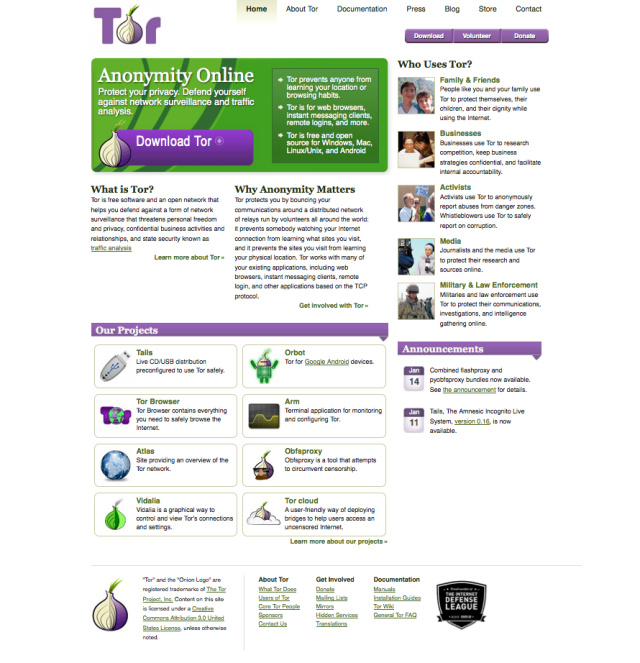 Screen Shot der Tor-Webseite