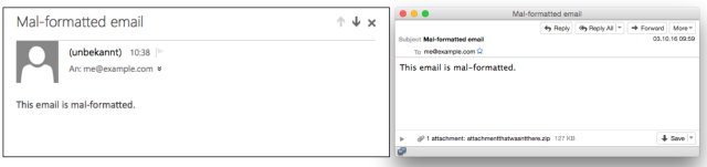 Mal-formatted email
