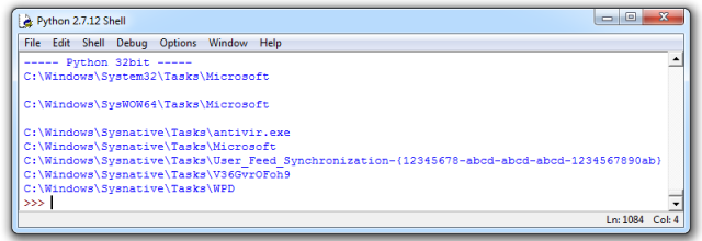 Python application (32bit), listing of all three System32, SysWOW64 and Sysnative-directories