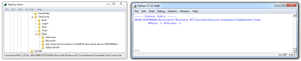 Registry Editor (64bit) vs Python application (32bit)